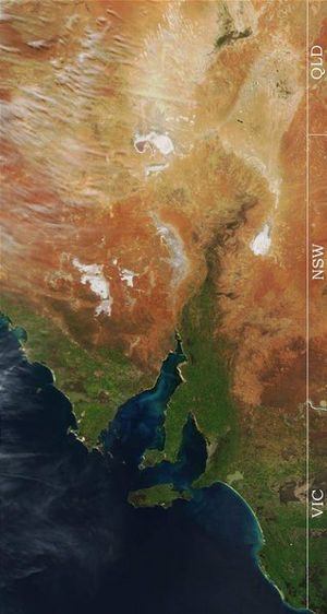 Satellite image of eastern South Australia. Note the dry lakes (white patches) in the north. Eastern South Australia Satellite Photo.jpg