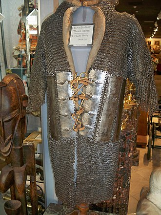 Chain mail - Riveted mail and plate coat zirah bagtar. Armour of this type was introduced into India under the Mughals.