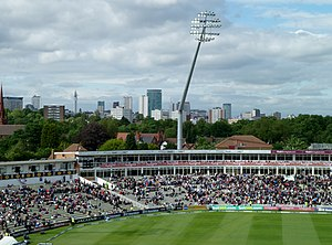 Edgbaston Cricket Ground - The Raglan and R. E. S. Wyatt Stands, with Birmingham City Centre in the distance.