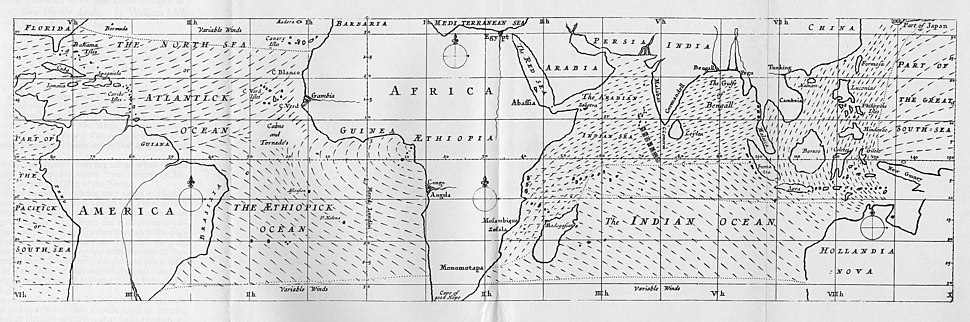 Edmond Halley%27s map of the trade winds, 1686