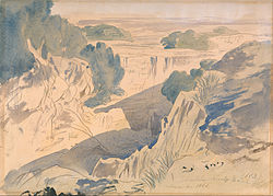 Landscape of Mqabba as painted by Edward Lear in 1866
