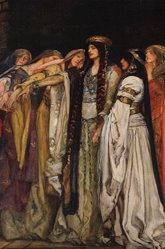 Land of Maidens - A detail of Castle of Maidens by Edwin Austin Abbey (c. 1890)