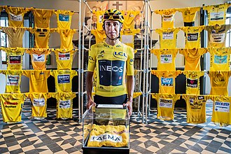 Egan Bernal at the KOERS [nl] cycling museum in the Belgian city of Roeselare, as he took part in the traditional post-Tour criteriums Egan Bernal KOERS 2019 01.jpg
