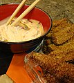 Eggplant Fritters with Spicy Vegan Mayo (4126524575).jpg