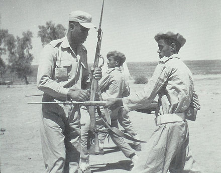 An Egyptian instructor at the San'a military academy showing a Yemeni how to use a bayonet affixed to a Mosin-Nagant rifle Egyptian instructing.jpg