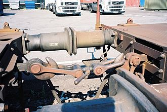 Buffers and chain coupler - Two cars joined by a buffers and chain coupler