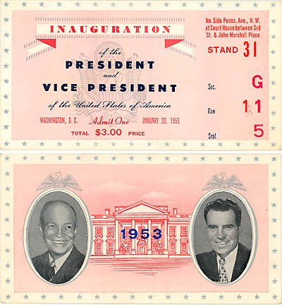 Eisenhower Inauguration ticket