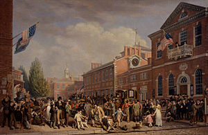 First Party System - Depiction of election-day activities in Philadelphia by John Lewis Krimmel, 1815