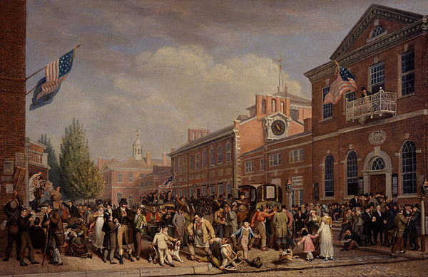 Depiction of election-day activities in Philadelphia by John Lewis Krimmel, 1815 Election Day 1815 by John Lewis Krimmel.jpg