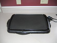 A basic electric griddle with temperature control