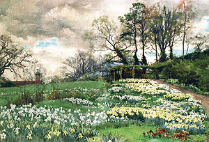 Ellen Willmott - Watercolour of Willmott's garden by Alfred Parsons (private collection)