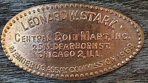 United States Assay Commission - Elongated coin for Leonard W. Stark, coin dealer and 1963 assay commissioner