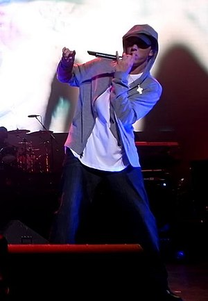 Eminem performing at the DJ hero party at June...