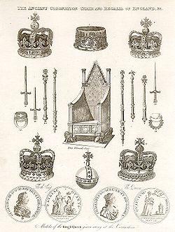 Trono de Coronación y Insignias reales de Inglaterra.