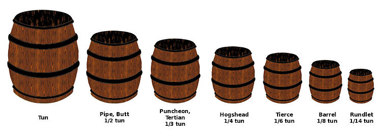 Seven barrels, each of a different size.English Wine Cask Units