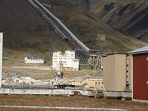 Entrance to the coal mine of Pyramiden, Svalbard.JPG