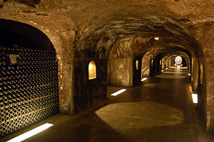 Underground wine caves in the Champagne where ...