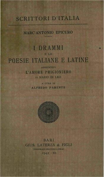 File:Epicuro, Marcantonio – I drammi e le poesie italiane e latine, 1942 – BEIC 1817146.pdf