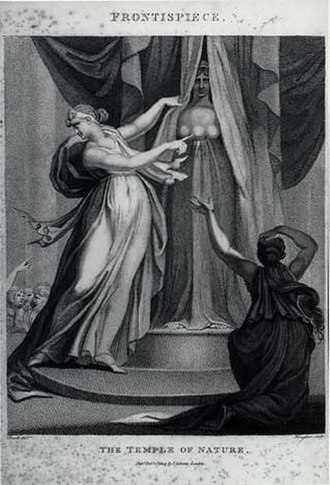 History of biology - The frontispiece to Erasmus Darwin's evolution-themed poem The Temple of Nature shows a goddess pulling back the veil from nature (in the person of Artemis). Allegory and metaphor have often played an important role in the history of biology.