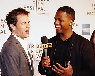 Entertainment journalism - Entertainment reporter A. J. Calloway interviewing Eric McCormack at the 2012 Tribeca Film Festival premiere of Knife Fight