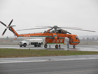 Korea Forest Service - Erickson S-64, stopping for fuel at McNary Field, Salem, Oregon en route to delivery to Korea Forest Service