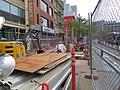 Escalator canopy construction at Civic Center construction, May 2018.JPG