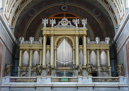 The organ of the Basilica in Esztergom, Hungary