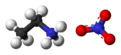 Ball and stick model of ethylammonium nitrate