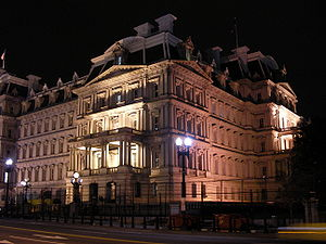 Executive Office of the President of the United States - The Eisenhower Executive Office Building at night.