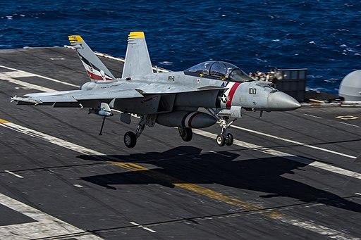 FA-18F Super Hornet of VFA-2 lands aboard USS Carl Vinson (CVN-70) on 18 January 2018 (180118-N-VL427-0342)