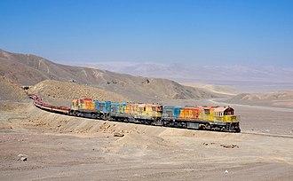Ferrocarril de Antofagasta a Bolivia - Clyde GL26C no. 1452, EMD GR12U no. 1412 and Clyde G26C-2 no. 2001 climbing Cumbre pass
