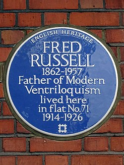 Fred russell 1862 1957 father of modern ventriloquism lived here in flat no.71 1914 1926