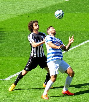 Fabricio Coloccini - Coloccini battling Charlie Austin for the ball in a 2–1 loss against Queens Park Rangers, 2015