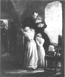 Familjen Banér tager et sidste farvel af Gustav inden effektueringen af hans dødsdom igennem halshugning på Linköpings torv i året 1600.   Hændelsen gengivet på et maleri af Fanny Brate