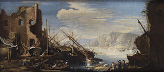 Fantasy Landscape with Harbor, ruins, Vessels, Ship Parts, Wrecks, Shipbuilders and People