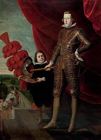 Philip IV of Spain - Philip dressed as a cuirassier, accompanied by a court dwarf, by Gaspar de Crayer.