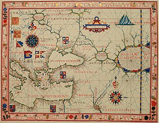 Caspian Sea - Unlike the Mediterranean and the Black Sea, towards the end of the 16th century the Caspian Sea was still not well explored and mapped. 1570 map by Fernão Vaz Dourado.