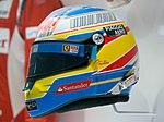 Fernando Alonso 2010 earlier helmet left 2017 Museo Fernando Alonso.jpg