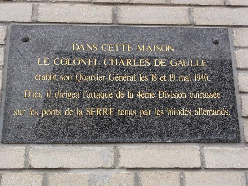 Festieux (Aisne) maison quartier général de De Gaulle, plaque