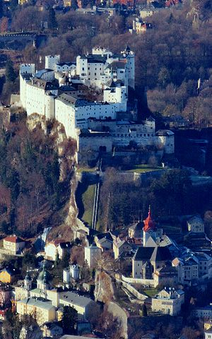 Reisszug - The Hohensalzburg Castle, with the lower route of the Reiszug picked out by two parallel vertical walls, whilst the gateways on the upper route can just be seen