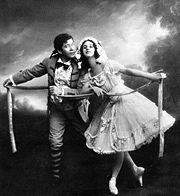 Fille Mal Gardee -Anna Pavlova as Lise, Nikolai Legat as Colas -circa 1910