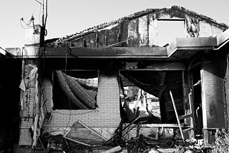 Bombardment of Yeonpyeong - A building that was damaged by fire after the bombardment