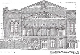 First Church of Christ, Scientist (Los Angeles) - Architectural drawing of the side view at First Church of Christ, Scientist