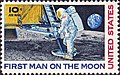 1969 stamp by Paul Calle showing an astronaut stepping from the lunar module onto the moon