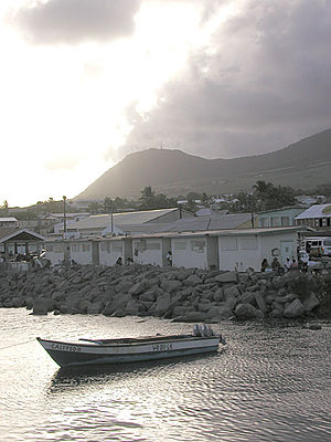 Geography of Saint Kitts and Nevis - Image: Fishing boat, Basseterre harbor, St. Kitts