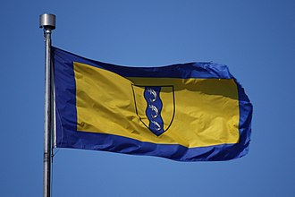 Flag of Richmond, British Columbia - The flag flying at Vancouver International Airport