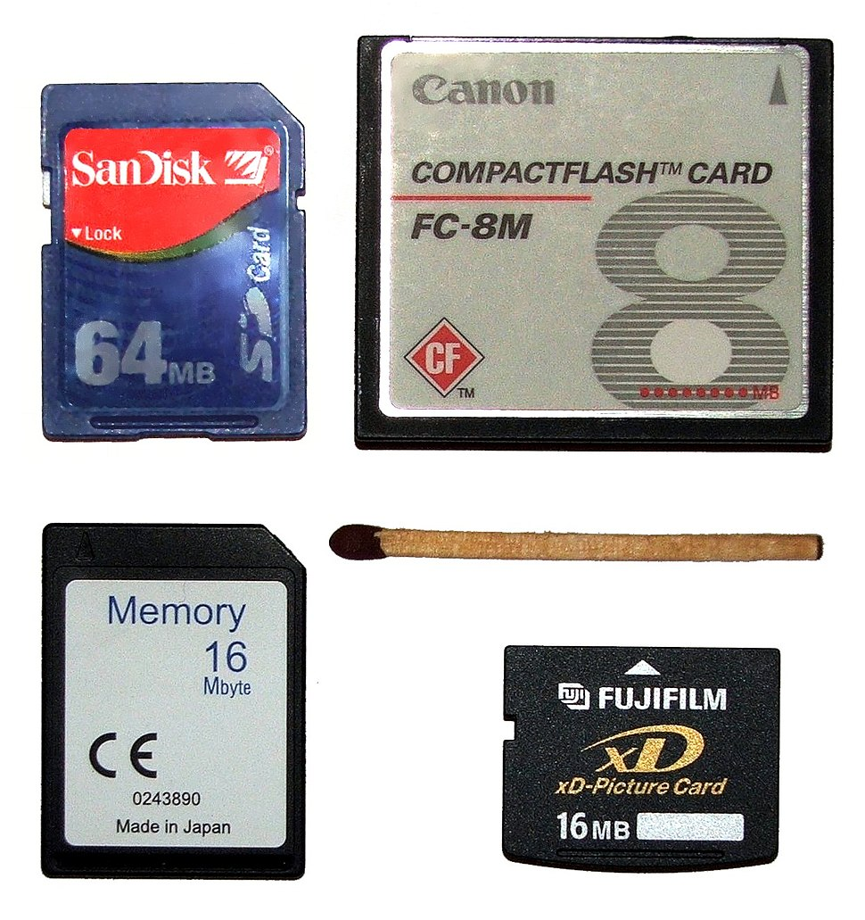Flash memory cards size