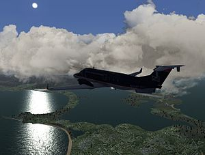 Amateur flight simulation - Screenshot from FlightGear