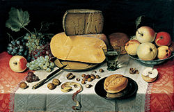 Floris van Dyck: Still-Life with Fruit, Nuts and Cheese