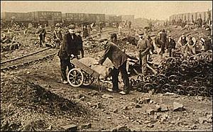 1926 United Kingdom general strike - Foraging for coal during the strike.